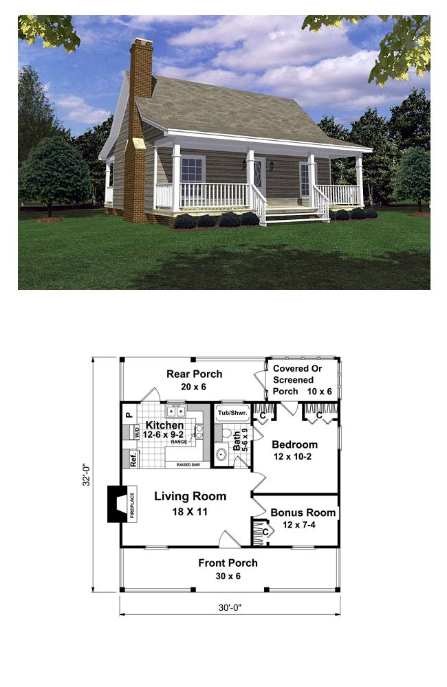 Tiny House Plan 59163 | Total Living Area: 600 sq. ft., 1 bedroom & 1 bathroom. Designed for the woods, the lake, or the beach for a weekend get-a-way or to relax in all summer/winter long. Everything you need for the ideal get-away. #houseplan #tinyhosue