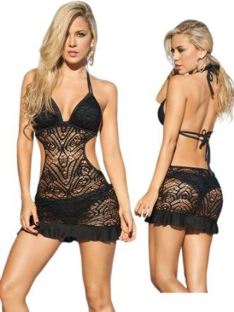 Sexy Black Beach Swimwear Sheer Crochet Cover Up Dress