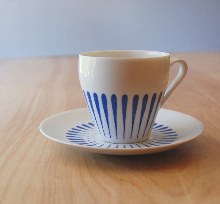Vintage Blue and White Schmid Bros Tea Cup and Saucer - Danish Modern. $19.00, via Etsy.