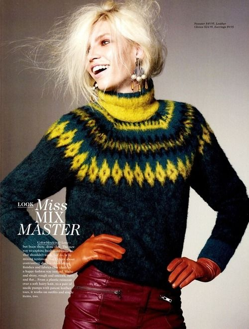 H Magazine, Fall 2012 - lovely colours ~ the inky blue with the chartreuse and touches of dark charcoal/black are stylish with a zing!!