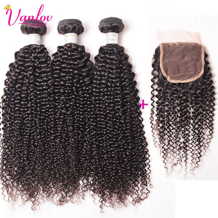 Afro Kinky Curly Virgin Hair With Brazilian Curly Virgin Hair With Closure 4 Bundles With Closure Human Hair Weave With Closure