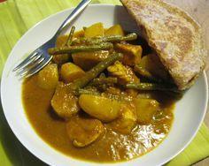 Recept voor heerlijke Roti kip met kipfilet en spercieboontjes.