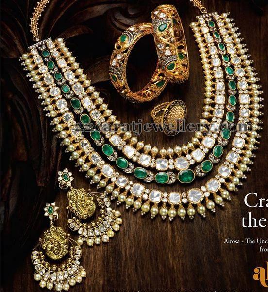 Jewellery Designs: Diamond Emerald Four Layer Necklace
