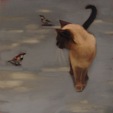 Siamese and Sparrow, painting by artist Diane Hoeptner