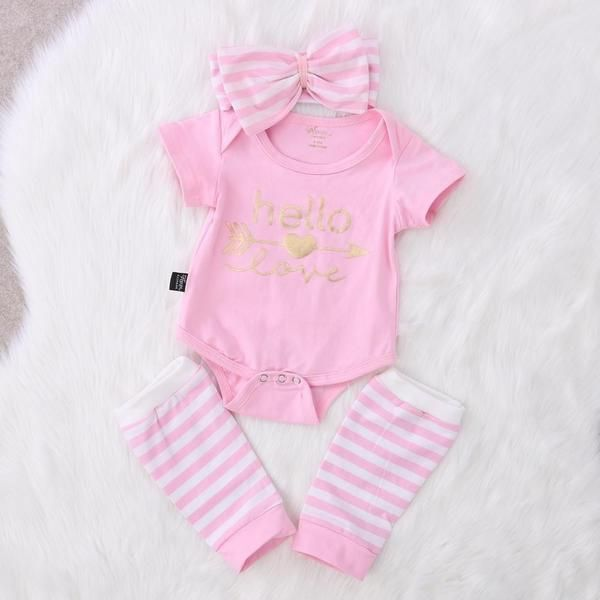 New spring/autumn baby girl clothes set Baby Girl Romper 3pcs Outfits Set Clothes 0-18M