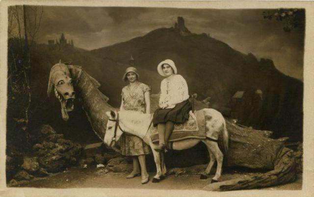 Wonderful vintage arcade photo with dragon and donkey - c.1920s