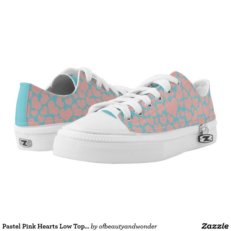 Shop Pastel Pink Hearts Low Top Shoes created by ofbeautyandwonder.