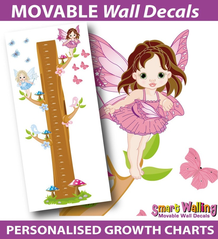 smartwalling, MOVABLE wall decals - Personalised Fairies Growth Height Chart - Totally Movable, $39.95 (http://www.wholesaleprinters.com.au/personalised-fairies-growth-height-chart-totally-movable)