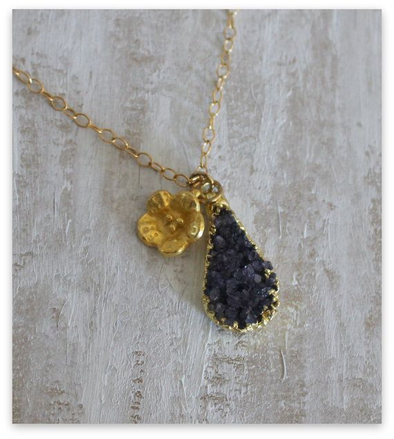 Black Druzy Teardrop pendant Necklace with Gold flower by NHjewel, $67.00