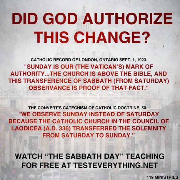 Elohim DID NOT Change Sabbath to Sunday - The Catholic church did!