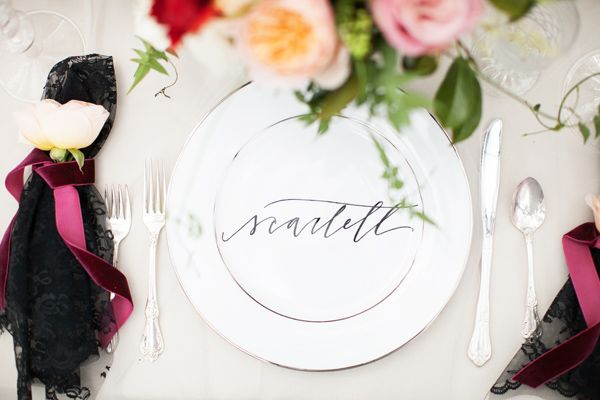 Calligraphy names written on plates