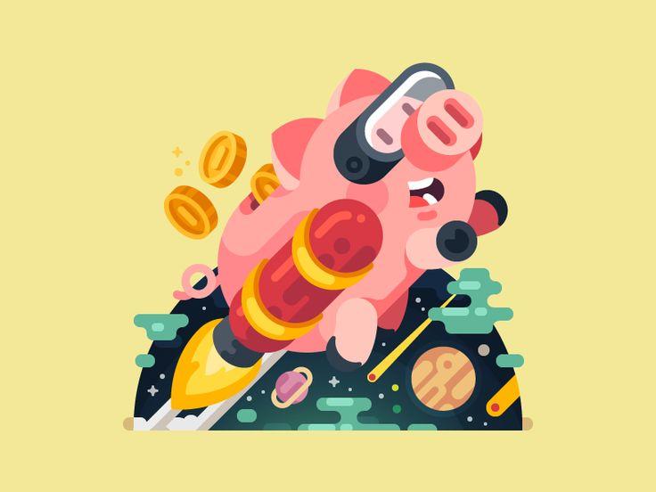 Rocket Space Illustration / July Pluto for Mail.Ru