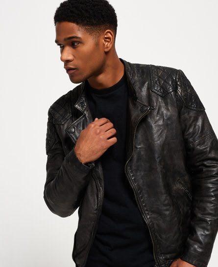 Superdry Endurance Indy Custom Leather Jacket Black