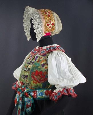 SLOVAK Embroidered Folk Costume blouse apron bonnet bobbin lace shawl silk vest | eBay
