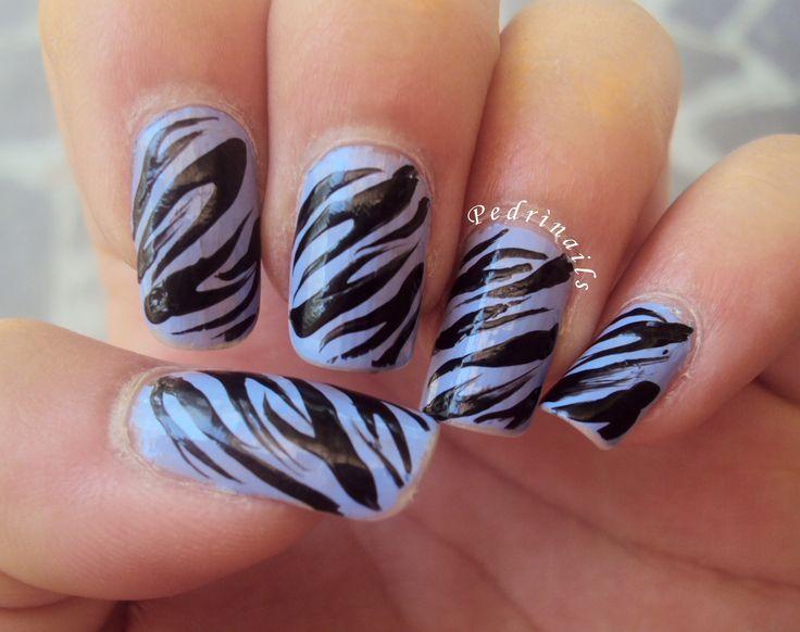 Zebra nails on lavender base - nail polishes by Kiko