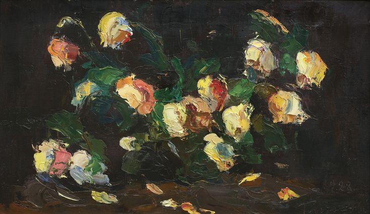Włodzimierz Terlikowski - Róże,1928, olej płótno, 28 x 47 cm