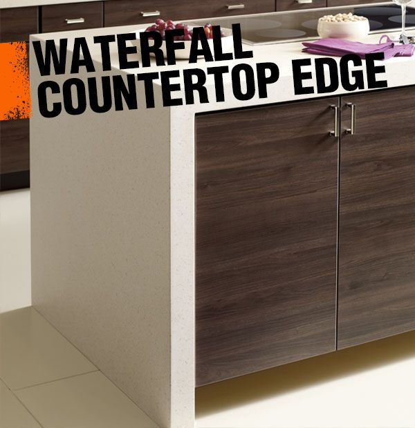 A waterfall edge is a contemporary style of countertop design in which the countertop extends all the way down one side of the cabinet or island.