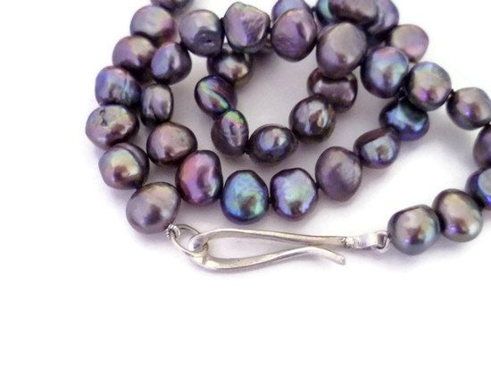 Peacock Baroque Pearl Necklace - bridesmaid, gift for her, blue, mauve, grey, hand forged, sterling silver, classic, choker, 9mm, organic