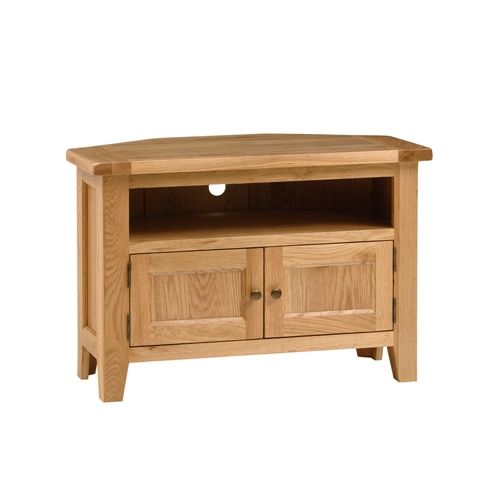 "Montague Oak Corner TV Stand with 2 Doors - up to 42"" (M581) with Free Delivery 
