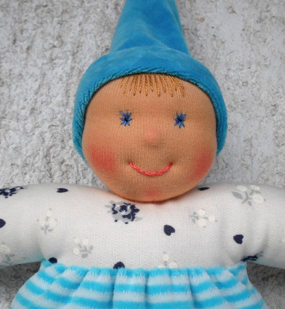 Personalized baby boy doll in Waldorf style by WaldorfDollsByIren