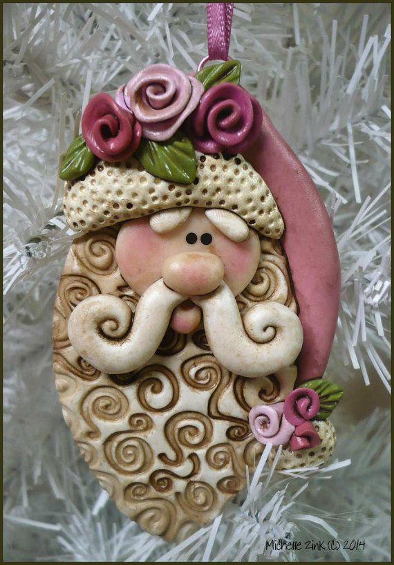 NEW Rose Santa Christmas Ornament Handmade Polymer Clay