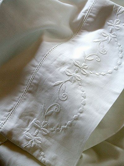 Embroidered linens...