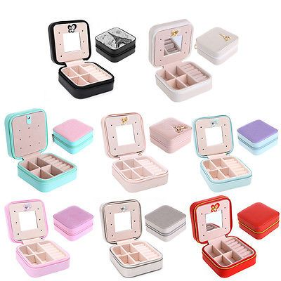 Travel Cosmetic Leather Jewelry Box Necklace Ring Storage Case Organizer Display