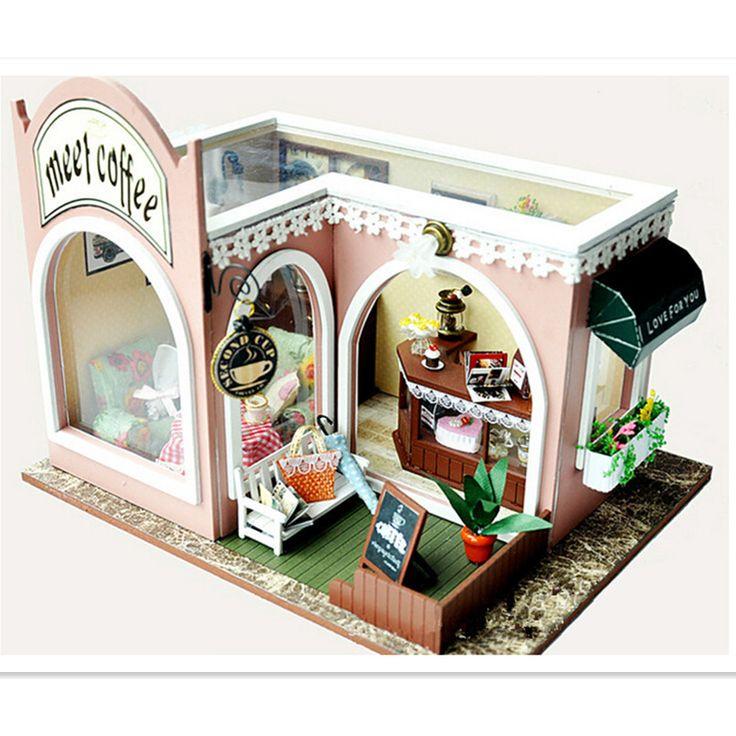"""Barato Casa de bonecas Kit DIY de madeira em miniatura casa de bonecas mobiliário de montar brinquedos para as crianças / amigos, """" O tempo de Mark """" casas de bonecas em miniatura, Compro Qualidade Casas de boneca diretamente de fornecedores da China:     DIY Dollhouse Kit Miniatura móveis casa de boneca de madeira montar brinquedos para crianças/amigos, """"o tempo d"""