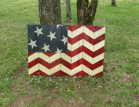 Chevron Print United States Flag - Hand Painted American Flag on Reclaimed Wood  - Wall Hanging