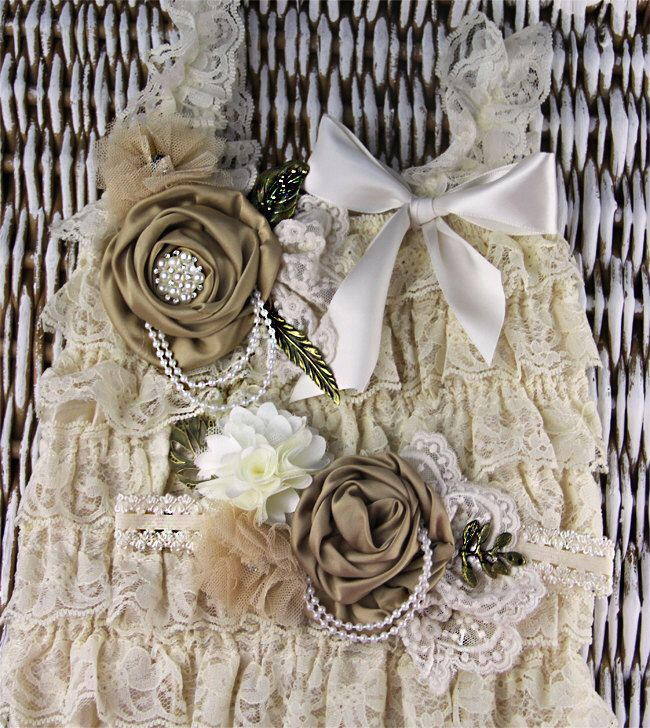 Rustic baby petti romper set, baby lace romper, beige petti romper ready to ship, photography props,baby ruffle romper, ivory lace romper by IzabellaBABY on Etsy https://www.etsy.com/listing/198700208/rustic-baby-petti-romper-set-baby-lace