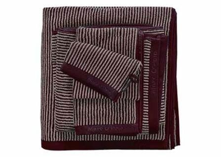 Marc O'Polo Handdoeken Timeless Tone Stripe deep plum/oatmeal