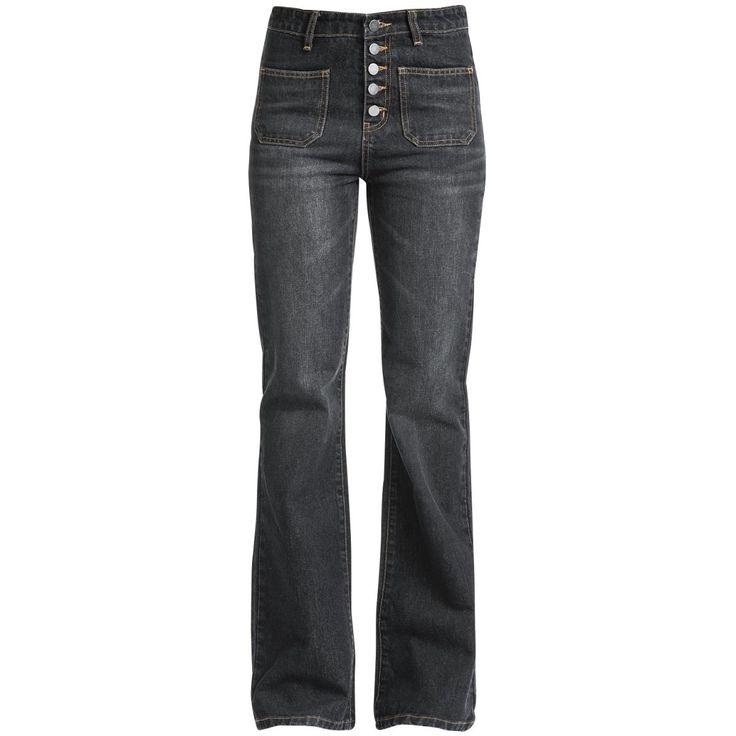 """- hoge taille - Xtra boot cut - knopenrij - twee vastgenaaide zakken  Jeans met een hoge taille zijn altijd modieus. Niet alleen omdat ze hoog op de taille zitten en daardoor je buik verbergen, maar ook omdat ze er gewoon goed uitzien! De """"Rockabilly Jeans"""" van Fashion Victim combineert de hoge taille met de flair van de wilde jaren 50 en heeft een Xtra boot cut, een knopenrij en twee vastgenaaide zakken. Zeg maar dag tegen de zomerblues met deze broek! Volgende stop: Memphis!"""
