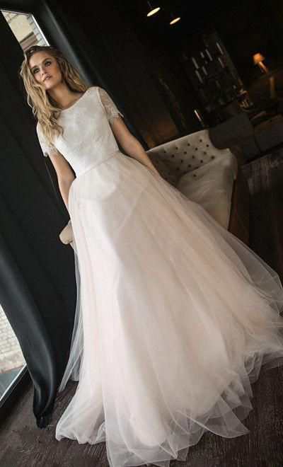 Unique White Lace Tulle Bridal Dresses Short Sleeves O Neck Wedding Gown A Line Special