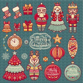 Набор цветных иконок рождественские. Новый год. Обрежьте бумагу. Eps. Pattern игрушка. Новогодние шары. Дед Мороз. Щелкунчик. Снеговик, носки, подарочные коробки. Рождественская елка, часы. Рождественский олень. Северный олень. Вязание. photo