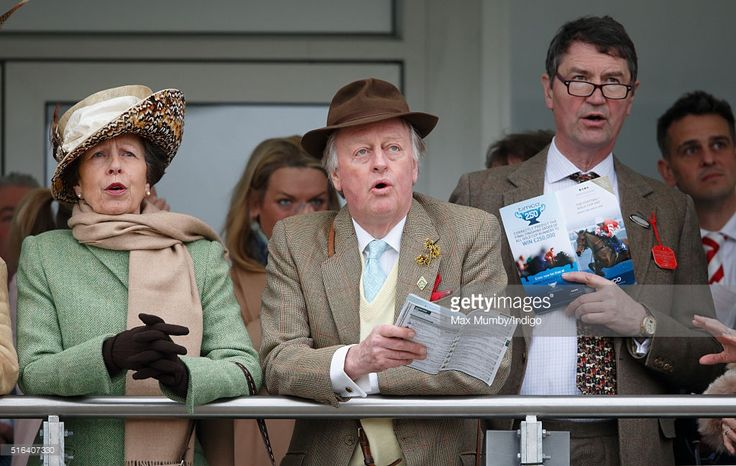 (EMBARGOED FOR PUBLICATION IN UK NEWSPAPERS UNTIL 48 HOURS AFTER CREATE DATE AND TIME) Princess Anne, The Princess Royal, Andrew Parker Bowles and Sir Timothy Laurence watch the racing as they attend day 4, Gold Cup Day, of the Cheltenham Festival on March 18, 2016 in Cheltenham, England. (Photo by Max Mumby/Indigo/Getty Images)