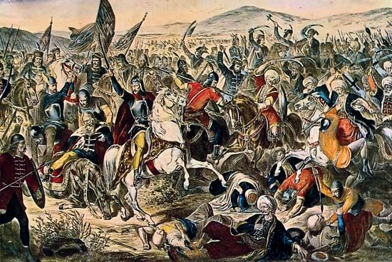 """(June 28 [June 15, Old Style], 1389), battle fought at Kosovo Polje (""""Field of the Blackbirds""""; now in Kosovo) between the armies of the Serbian prince Lazar and the Turkish forces..."""