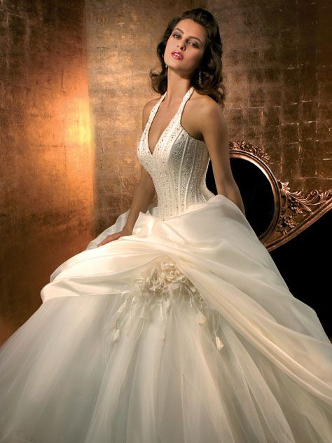 Ball Gown V neck Europe Wedding Dress #W0855449