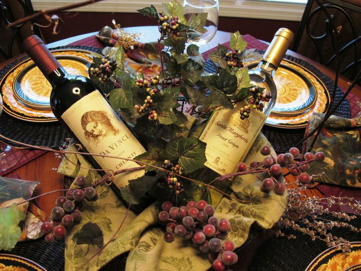 Wine Themed Centerpieces Created The Wine Centerpiece Out Of A Round Wire Basket