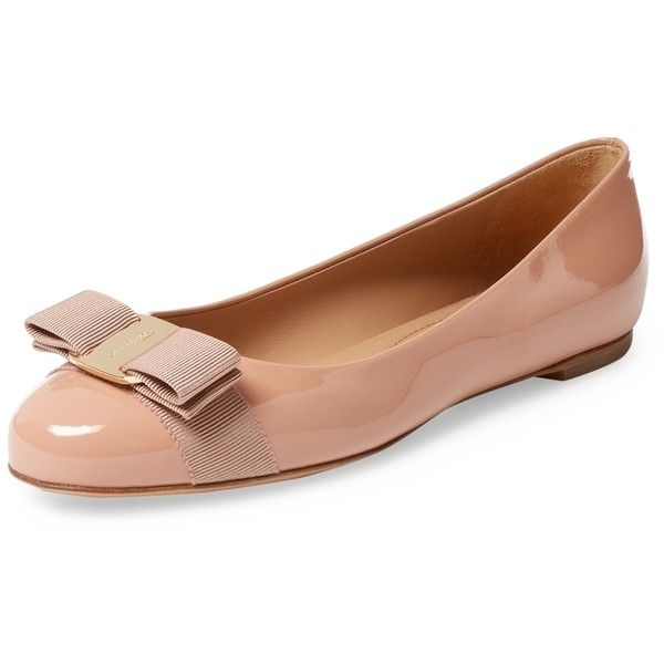 Salvatore Ferragamo Women's Patent Leather Ballet Flat - Cream/Tan,... (€355) ❤ liked on Polyvore featuring shoes, flats, cream ballet flats, tan ballet shoes, tan flats, patent leather ballet flats and cream flats