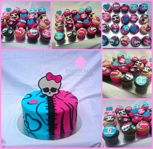 #monstershigh #amazingcakes #cake #cupcakes #amazingcupcakes I just love the colours on this Monsters High themed cake and cupcakes. Young lady heaven