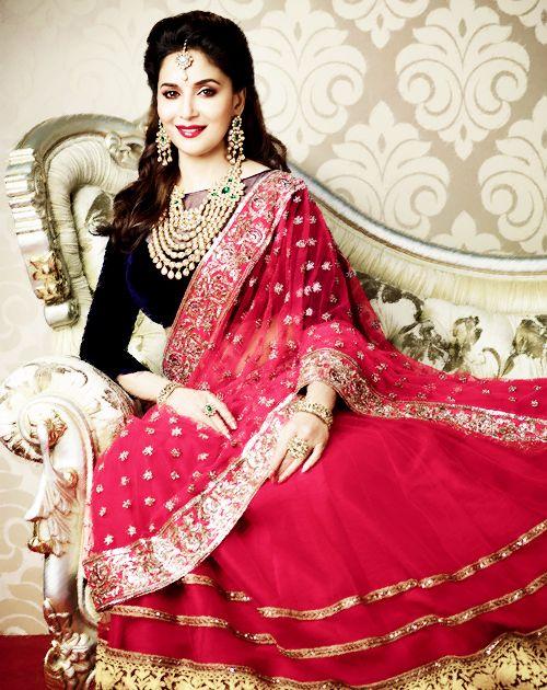 Madhuri in lehenga #lehenga #choli #indian #hp #shaadi #bridal #fashion #style #desi #designer #blouse #wedding #gorgeous #beautiful