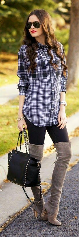 Fall Plaids - Printed Plaid Silk Shirt with Reversible Leggings and Grey Over the Knee Boot and Stunning Handbag / Pink Peonies