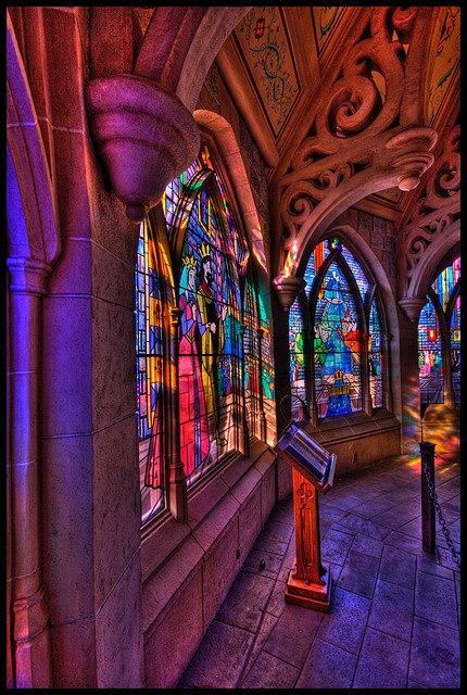 stained glass window in Sleeping Beauty's Castle, Disneyland Paris