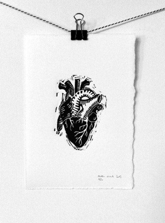 coeur atomique, linogravure
