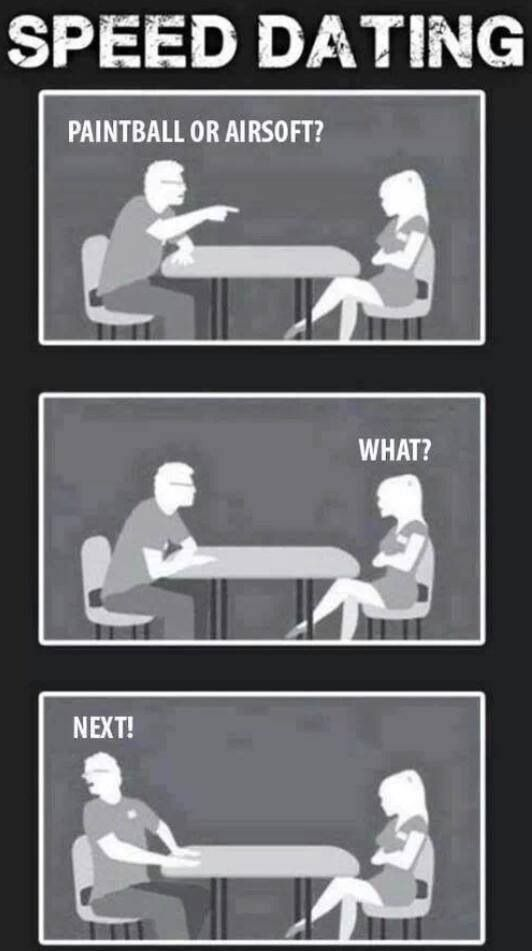 Speed dating, Paintball or Airsoft?                                                                                                                                                     More
