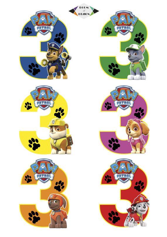 Paw Patrol printable Paw Patrol Number 3 Centerpieces Paw