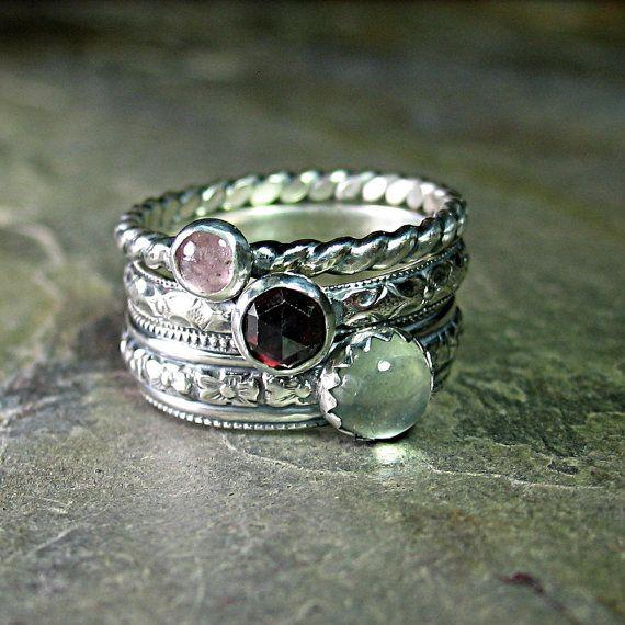 Pattern Wire Stacking Ring Set of 3 stackable pink tourmaline, red garnet, green prehnite - English Rose