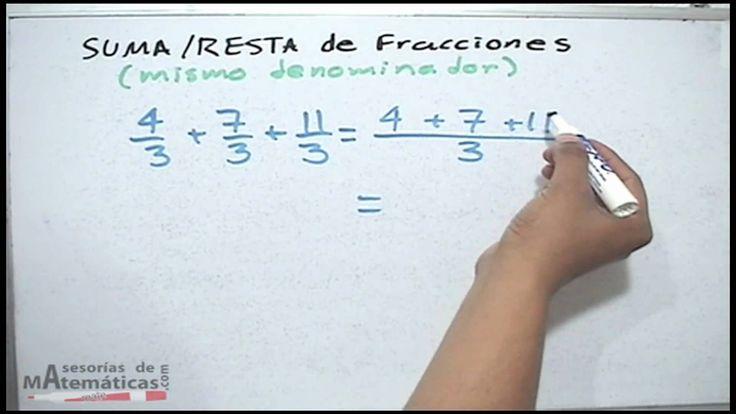 Suma y resta de fracciones con mismo denominador