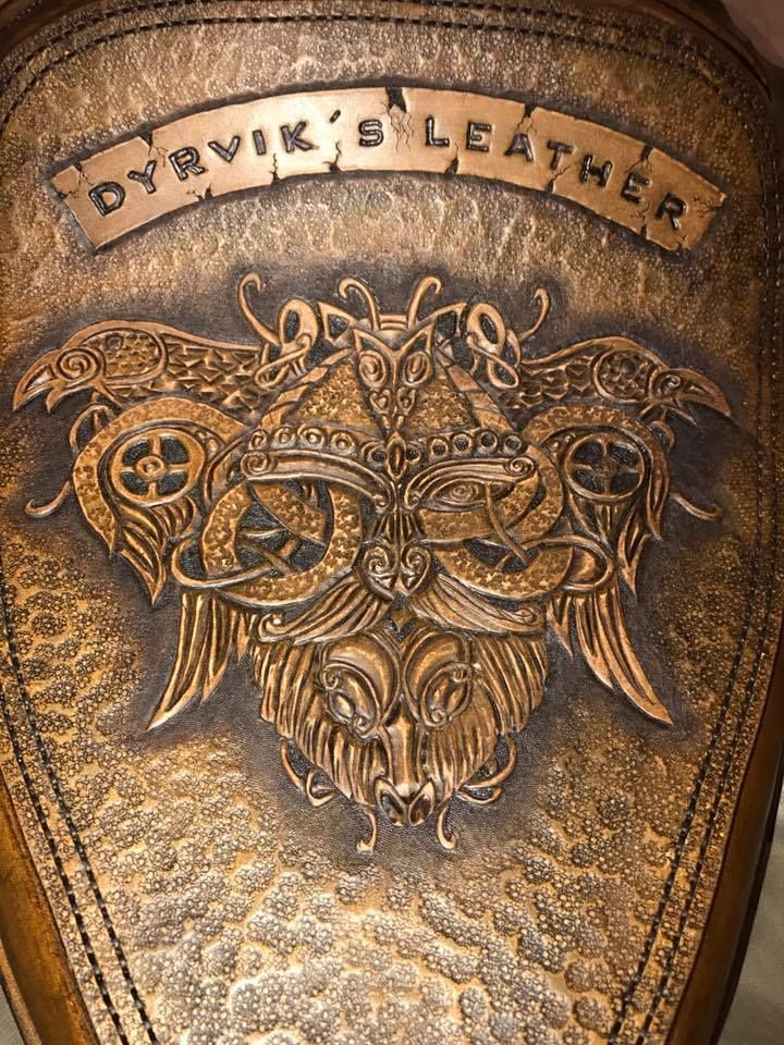 I finished a chopper seat today, hand-sewn, tooled motives, made in thick leather you can order on my webpage