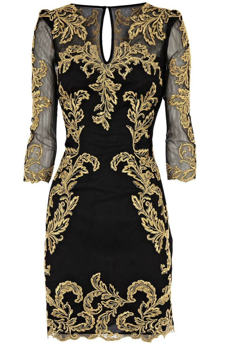 Sexy V-neckline dresses with gold threaded embroidery_Dresses(d)_DESIGNER_Voguec Shop